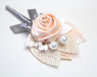 Rosy Mauve Blush Burlap Rosette Boutonniere/ Rustic