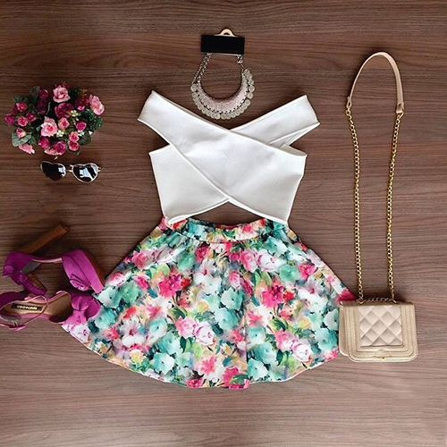 New Print 2015 White Dress Summer Boho Mini Floral Sexy Sundress Bohemian Two Piece Dress Causal Fashion Beach Dress Women