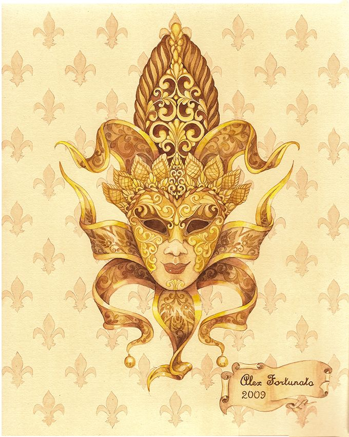 Venetian mask (№3), watercolor, size 24x30cm. Watercolor Paintings by Alexey Volgutskov.