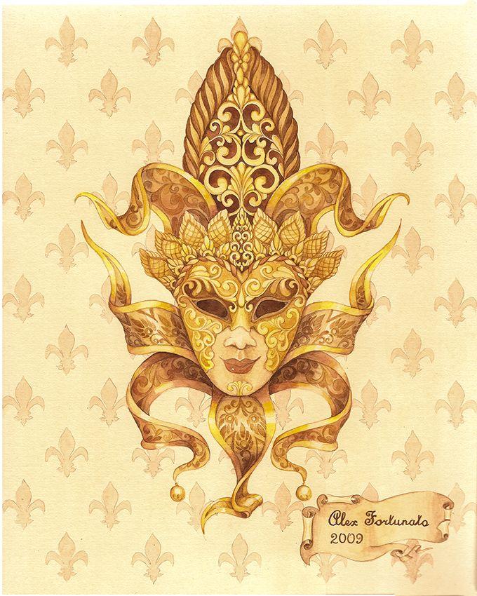 Venetian mask (№3), watercolor, size 24x30cm. Watercolor Paintings by Alexey Volgutskov.