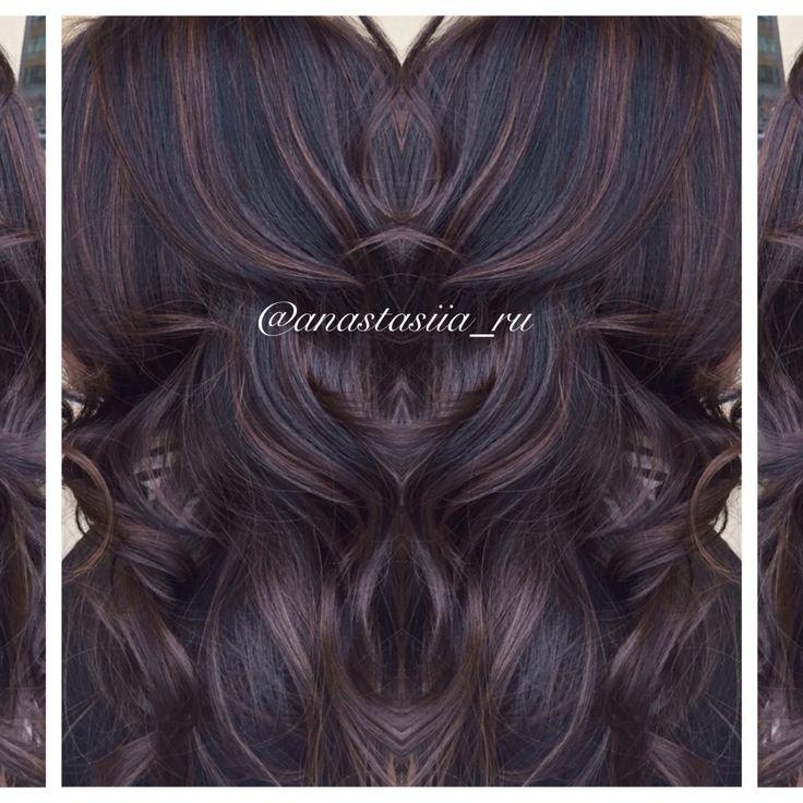 I love this one! chocolate highlights and balayage on dark or black hair .... Yummm