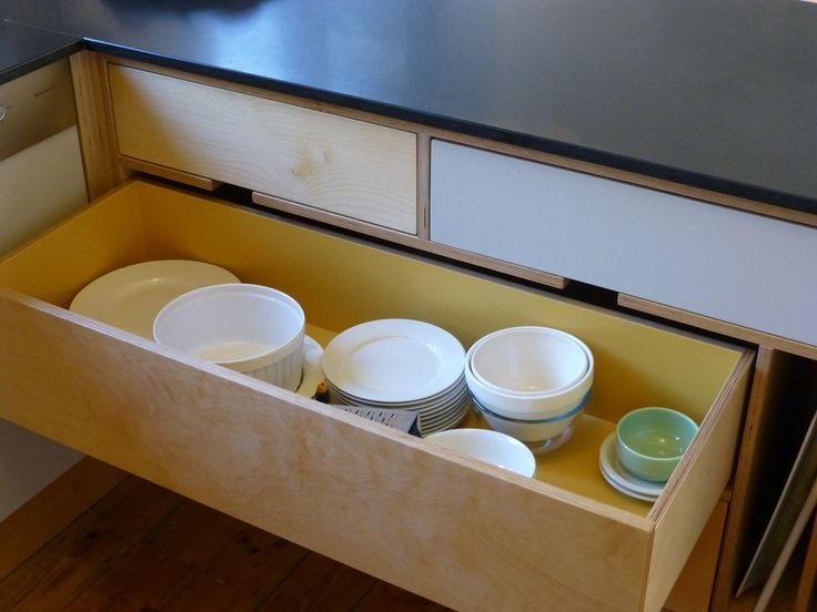 pan drawer in handmade sixties style kitchen design