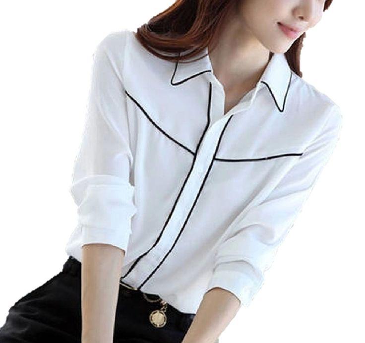 Amazon.co.jp: シンプル ! シフォン 長袖 ブラウス シャツ レディース ファッション がんばる 通勤 OL の方に ! / ホワイト / S M L XL / 大きい サイズ あります!: 服&ファッション小物