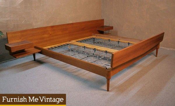 Mid Century Modern German Teak King Platform Bed