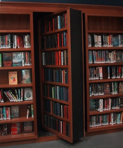 I have long harbored the fantasy of a secret doorway built into my bookshelves. (very Scooby Doo, yes?)