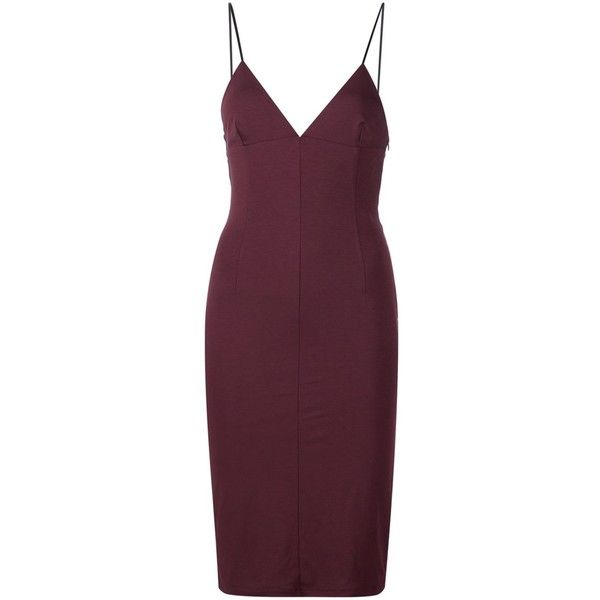 T By Alexander Wang Lux Ponte Fitted Dress ($325) ❤ liked on Polyvore featuring dresses, haljine, red, tight dresses, red cocktail dress, purple cocktail dresses, spaghetti strap dress and deep v neck cocktail dress