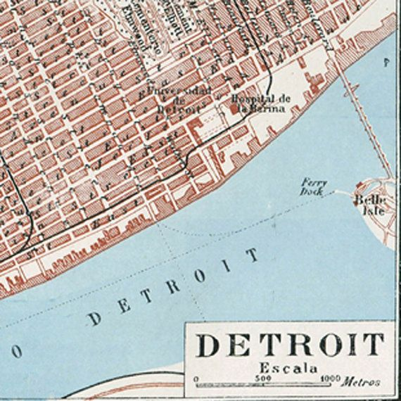 Vintage Detroit City Map Street Plan 1920s United States