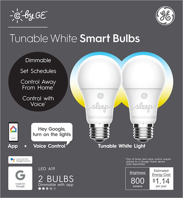 Ge Led 9 5w 60w Equivalent C By Ge Smart Home Light Bulb Tunable White E26 Medium Base 13 Year Life 2pk Walmart Com In 2020 Led Smart Bulb Ge Led Smart Bulb