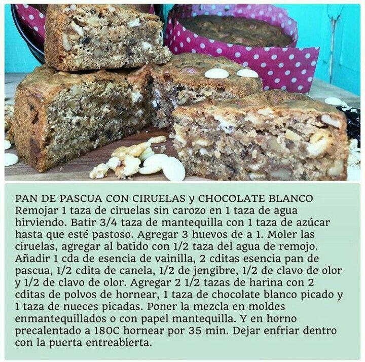 Pan de pascua con ciruelas y chocolate blanco