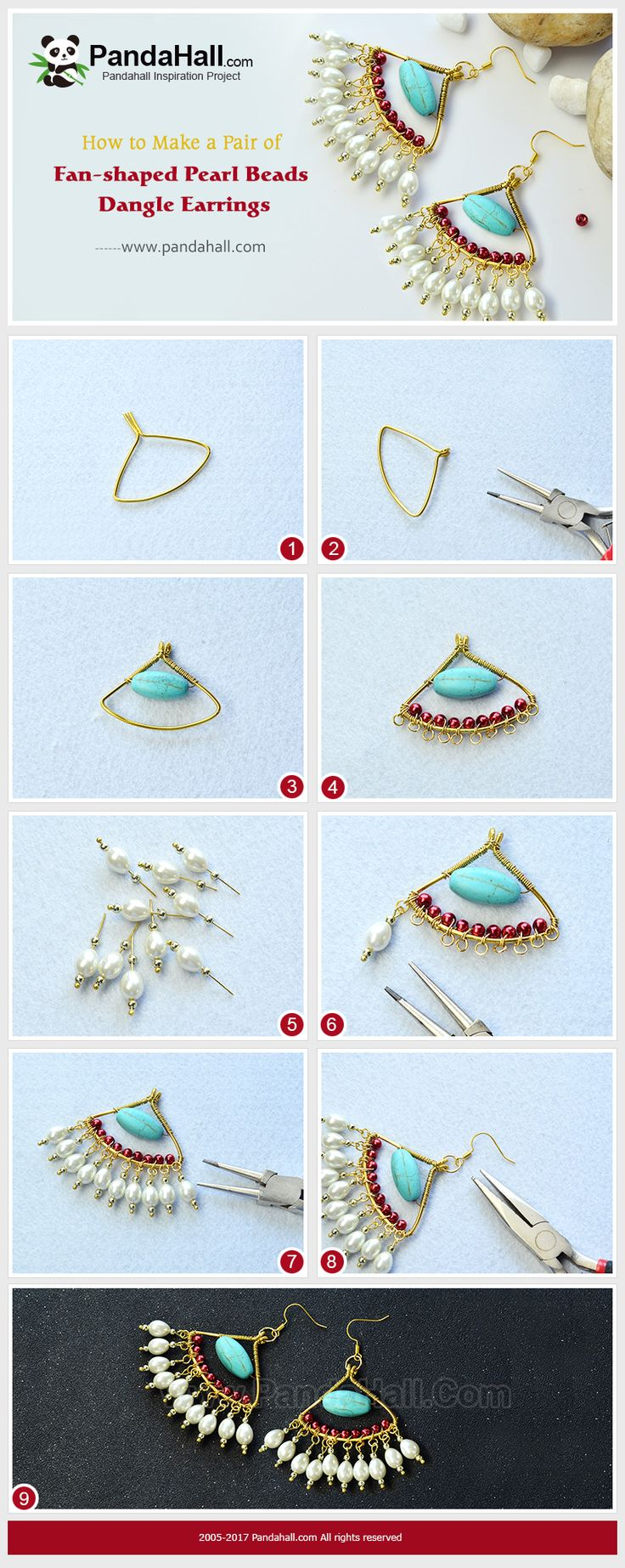 Fan-shaped Pearl Beads Dangle Earrings The main materials of the earrings are turquoise beads, red and white pearl beads and gold acrylic beads. PandaHall Beads APP is on, download here>>>goo.gl/jLxpjp 2018 New Year Sale: UP TO 75% OFF,FREE SHIPPING over $349 from Jan 2-23, Free Coupons: PHENPIN5 (Save $5 for $70+) PHENPIN7(Save $7 for $100+) #PandaHall #earringstutorial #craft #diyearrings #jewelrymaking #pearl #turquoise #fanshape dangle