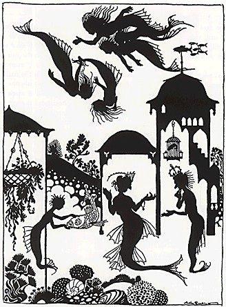 sirène fond des mers carton papier théâtre d`ombres ombres chinoises marionnettes silhouettes