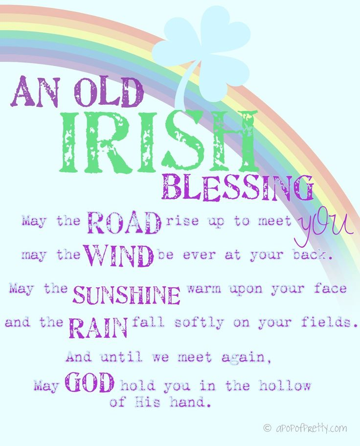"Three free printables in pretty colors for St. Patrick's Day at A Pop of Pretty (apopofpretty.com), including two sweet Irish blessings, and one ""Kiss Me I'm Irish (Today)! Just right-click to download them, then print. Easy peasey."