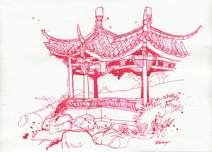 Ancient Chinese Architecture Drawing And Chinese Gardens Jun30 1LR