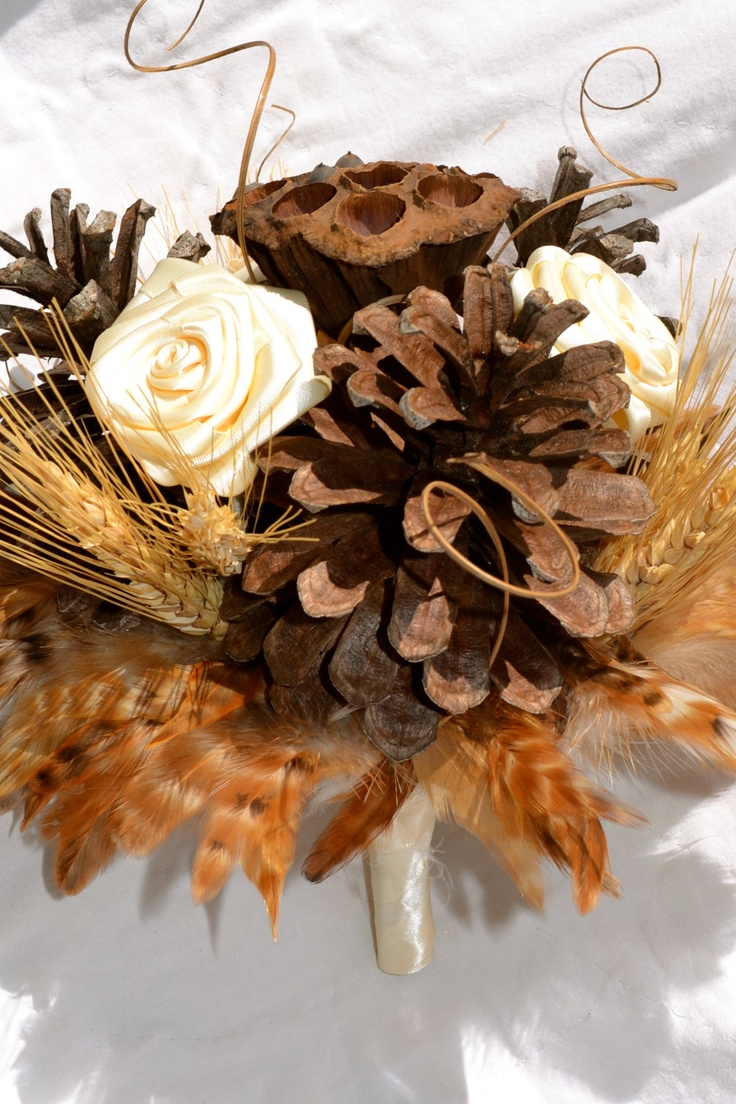 29 best dried pods ideas images on pinterest dried flowers rustic natural bridal bouquet with pinecones fabric flowers wheat lotus pods and dhlflorist Images