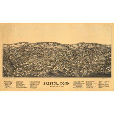 Historic Map of Bristol Connecticut 1889 Hartford County Canvas Art - (24 x 36)