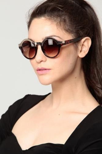 Two Tone Rounded Sunglasses GUNMETAL