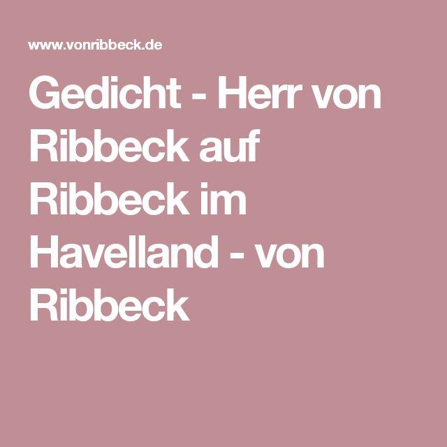 Gedicht - Herr von Ribbeck auf Ribbeck im Havelland - von Ribbeck