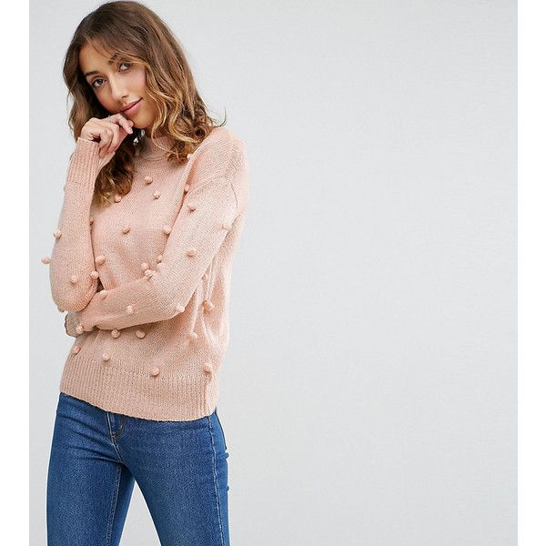 Vero Moda Tall Bobble Knitted Jumper (56 AUD) ❤ liked on Polyvore featuring tops, sweaters, pink, pink sweater, acrylic sweater, pom pom tops, thick knit sweater and pink top