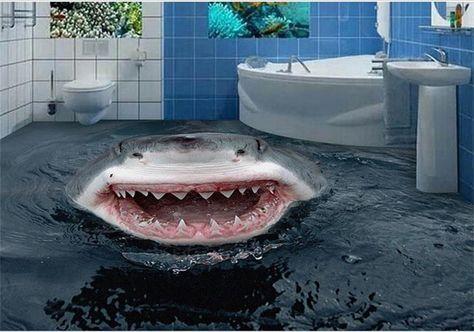 33.13$ Buy here - https://alitems.com/g/1e8d114494b01f4c715516525dc3e8/?i=5&ulp=https%3A%2F%2Fwww.aliexpress.com%2Fitem%2FCustom-3-d-PVC-wallpaper-photo-wallpaper-Sharks-out-of-the-water-bath-sitting-room-mural%2F32696133524.html - 3D Floor Wallpaper Muarl Custom HD Photo Wallpaper Sharks water bath photo Floor Bathroom Self-adhesive PVC Waterproof Wallpaper