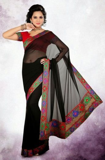 Black Georgette Net; Paired With A Contrast Red Dupioni Raw Silk Blouse.