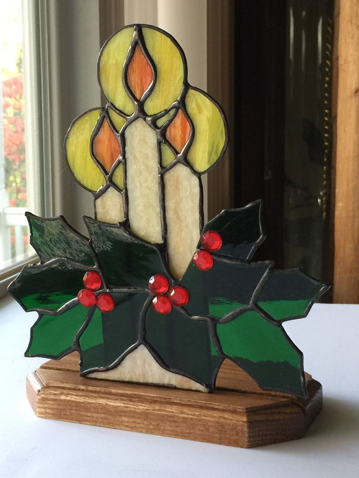 Christmas Candles, Stained Glass Candles, Candle Sun Catcher