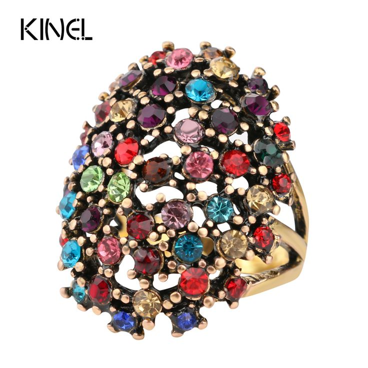Retro Jewelry Color Crystal Ring Size 10 Rings For Women   Gold Plating Filled Stretch Fashion Rings Carteiras Femininas