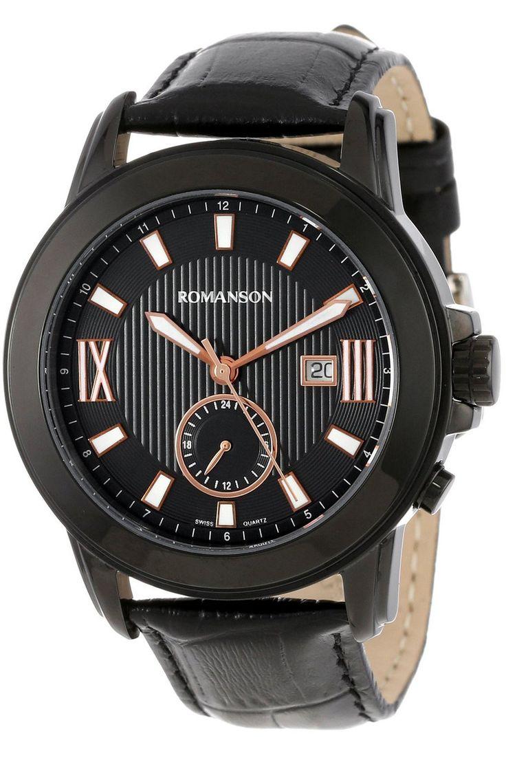Timepiece Theatre - TL0381MM1BA36R - Romanson Black Swiss Quartz Men's Watch with Luminous Hands and Markers