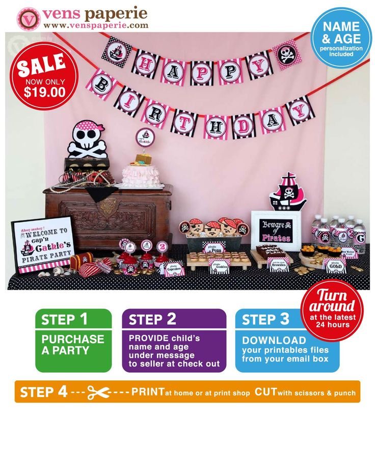 Pink Pirate Birthday Party Package Personalized FULL
