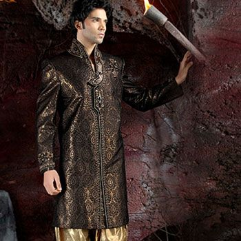 Black Banarasi Fabric Sherwani