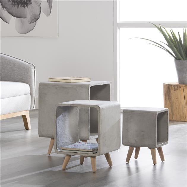 Bijzettafel Cubo beton > voor de slaapkamer
