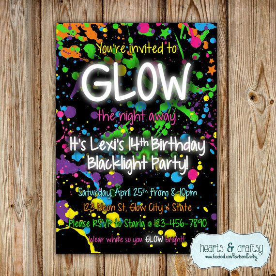 Glow In The Dark Party Invitation / Neon by HeartsandCraftsy