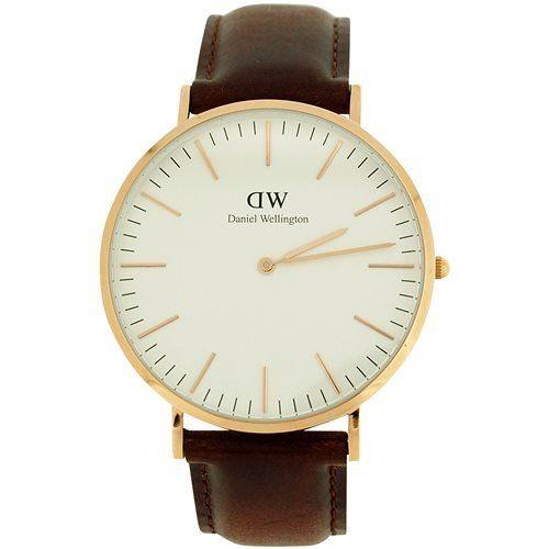 Daniel Wellington Herren Weiß Zifferblatt, echte braun Leder Armbanduhr 0109DW - http://uhr.haus/daniel-wellington/daniel-wellington-herren-weiss-zifferblatt