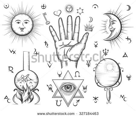 Alchemy, spirituality, occultism, chemistry, magic tattoo vector symbols. Design esoteric and gothic, witchcraft and mystery, medieval potion illustration