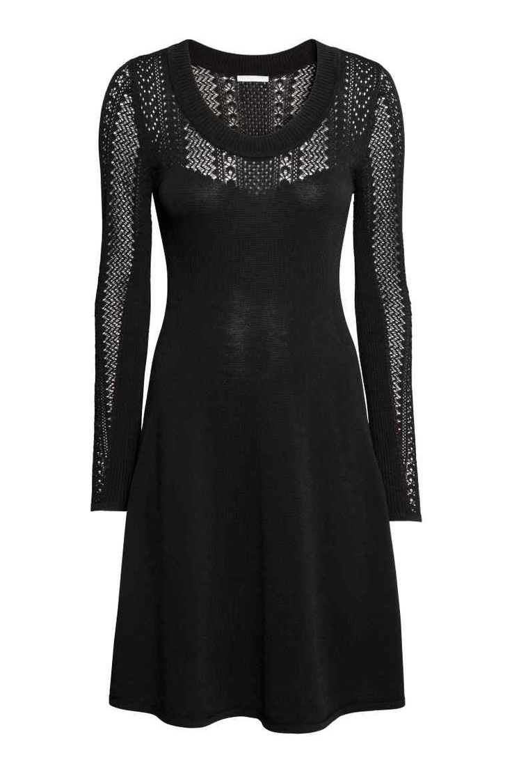 Fijngebreide jurk - Zwart - DAMES | H&M NL