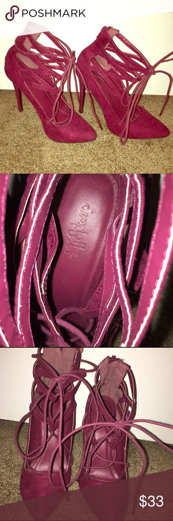 SALE  maroon pumps Pointy toe lace up maroon heels Approximately 4.5 inches Worn once to a dinner for maybe 2 hours total Actually super comfortable and easy to walk in! Stella style Charlotte Russe Shoes Heels
