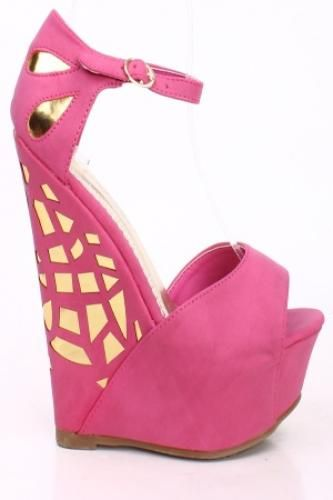 FUCHSIA FAUX SUEDE ANKLE STRAP PEEP TOE LAZER CUT OUT PLATFORM WEDGE HEELS