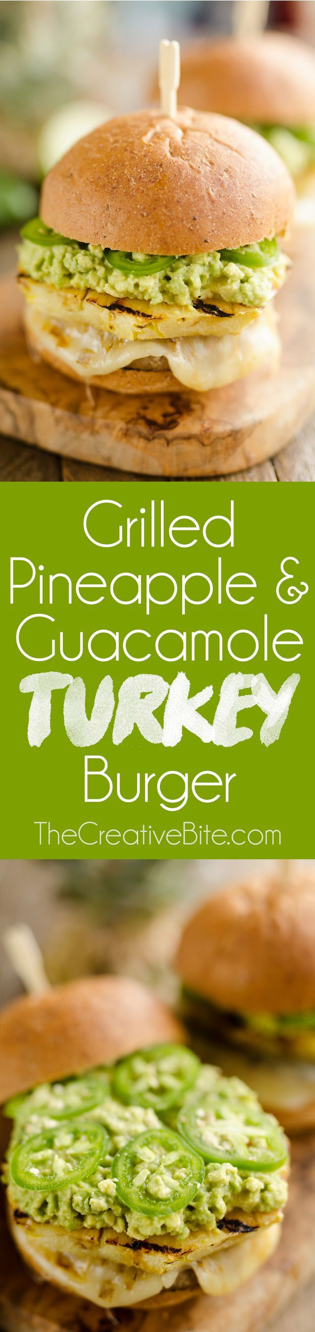 Grilled Pineapple & Guacamole Turkey Burgers are a healthy and easy recipe made on the grill in just 20 minutes! Juicy Jennie-O Turkey Burgers are topped with pepper jack cheese, sweet grilled pineapple, guacamole and fresh jalapeños for a zesty burger pe