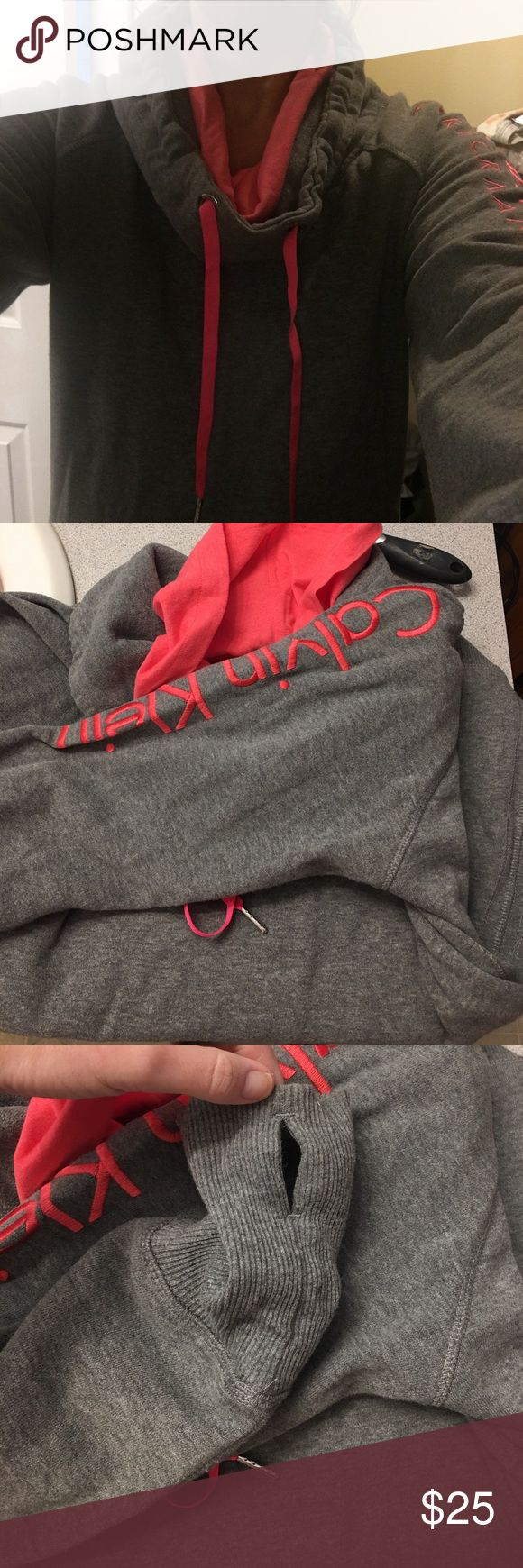 Calvin Klein cowl neck sweatshirt Gray and pink Calvin Klein cowl neck pullover hoodie with cut out for thumbs. Worn once, perfect condition. Calvin Klein Tops Sweatshirts & Hoodies