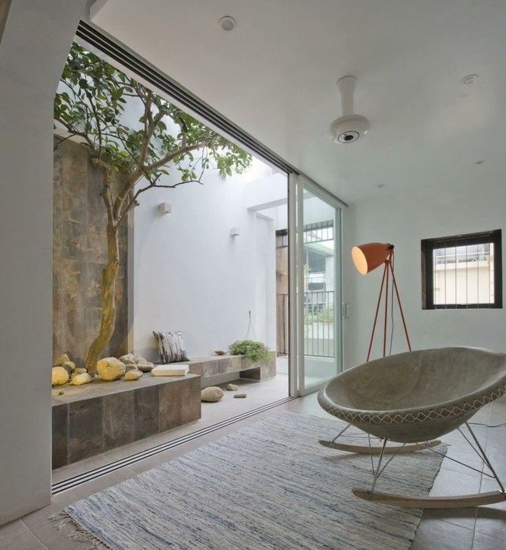 Schiebetür als Raumteiler zwischen Dachterrasse und Wohnzimmer