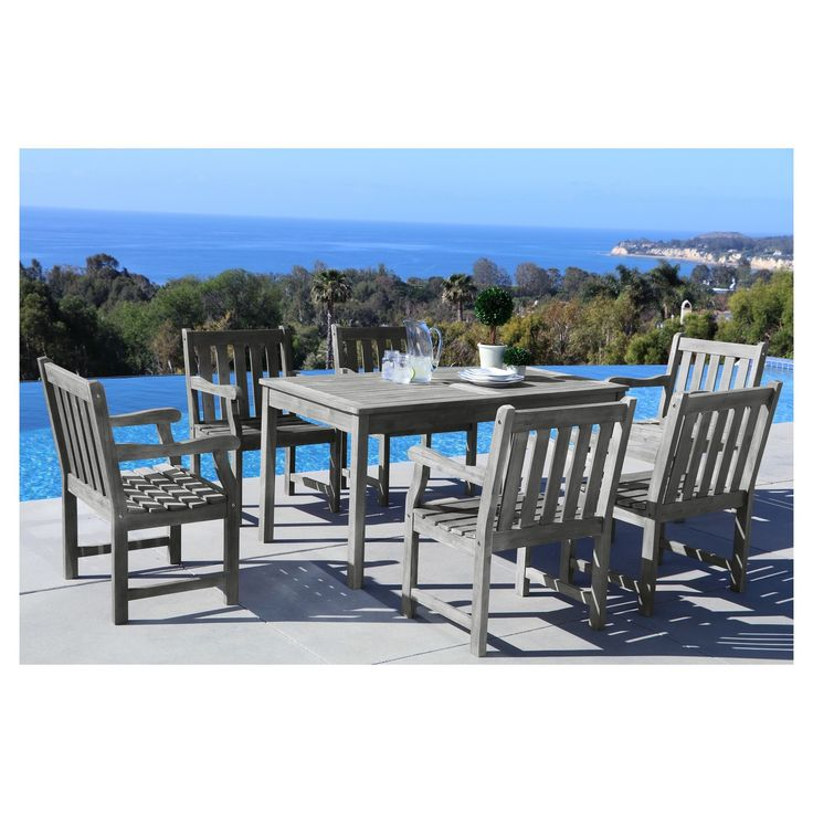 Vifah Renaissance Eco-friendly 7 Piece Outdoor Hand-scraped Hardwood Dining Set with Rectangle Table and Arm Chairs, Gray