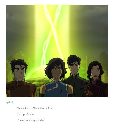Team Avatar With Messy Hair. Except Asami. Asami is always perfect  http://emilyprentits.tumblr.com/post/108712773433/gublernation-punky-brewsters-biological