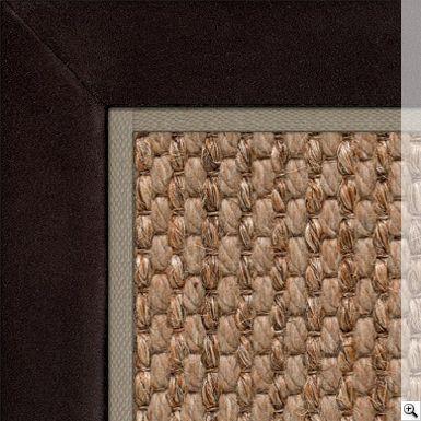 Sisool Masai Rug. Border: Suede / Chocolate. Piping: Cotton / Stone (1cm)