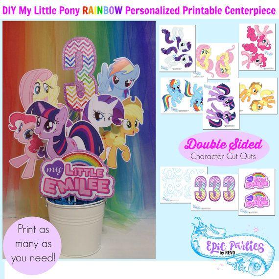 My Little Pony Birthday Printable | My Little Pony Personalized Centerpiece | My Little Pony Decorations | Rainbow | Epic Parties by REVO