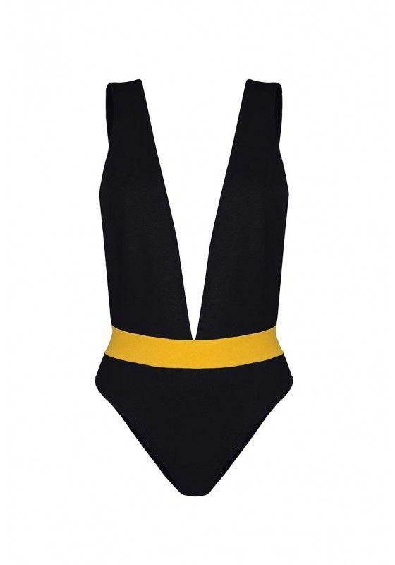 Maillot de bain une pièce noir avec un décolleté plongeant et dos découvert. Attache par bretelles nouées autour du cou ou par bouton dans le dos.