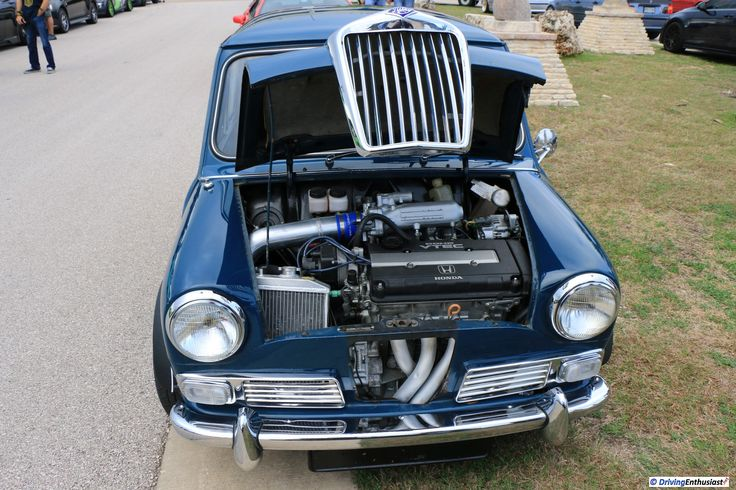 1966 Riley Elf MkII with Honda B16A engine swap. Swap includes front disc brakes, 5-speed manual, and aircon. As shown at the February 12 2017 Cars and Coffee Event In Austin, TX, USA.