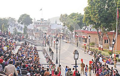 The Wagah border closing lowering of the flags ceremony or The Beating Retreat ceremony being held at Wagah Border on Grand trunk road joining India and Pakistan.