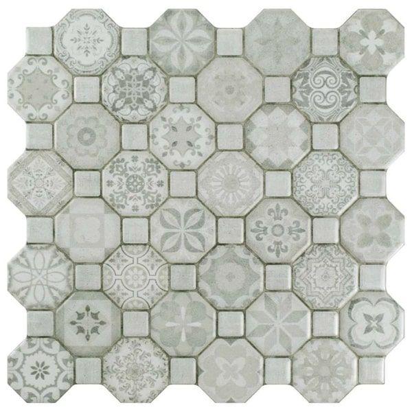Somertile 12 25x12 25 Inch Tesseract White Ceramic Floor