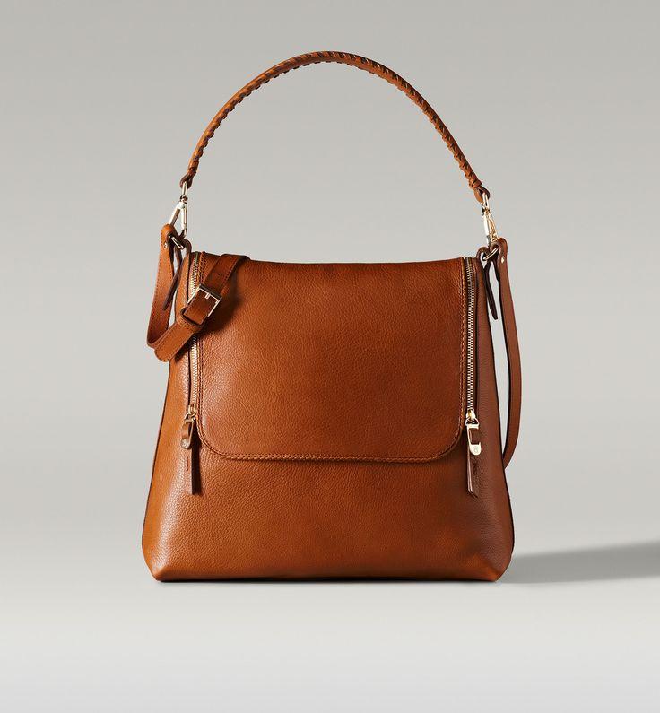 Massimo Dutti Cognac Color Handbag With Braided Handle