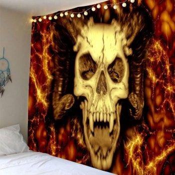 Waterproof Halloween Devil Skull Hanging Tapestry