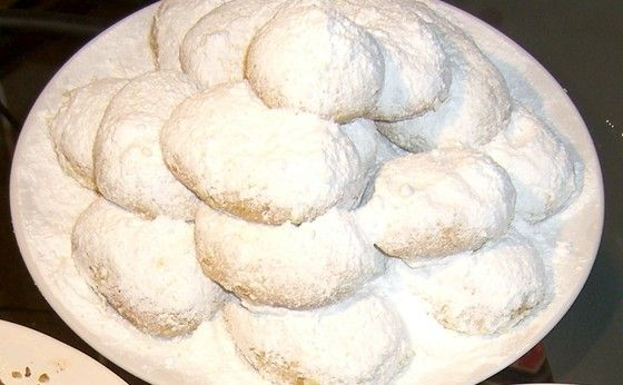 Kourampiedes (Powdered Sugar Rosewater Butter Cookies), posted from MyGreekDish.com iOS app